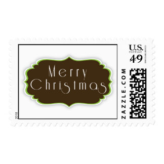 Mint and Chocolate Merry Christmas Postage Stamp