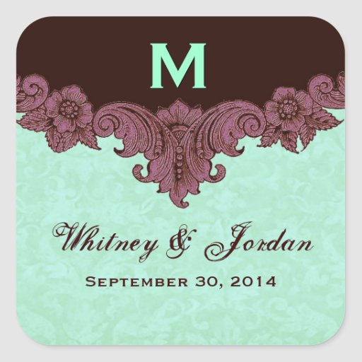 Mint and Chocolate Vintage Wedding Names Date S433 Square Stickers
