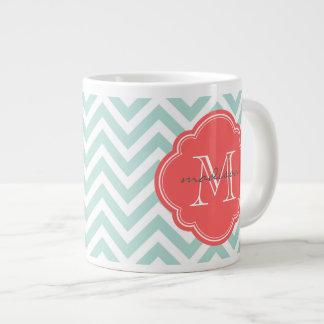 Mint and Coral Chevron Custom Monogram 20 Oz Large Ceramic Coffee Mug