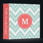 """Mint and Coral Chevron Custom Monogram Binder<br><div class=""""desc"""">Cute girly preppy zigzag chevron pattern with your custom personalized monogram name or initial and personalized text on the spine. Click Customize It to change text fonts and colors to create your own unique one of a kind design.</div>"""