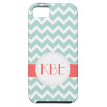 Mint and Coral Chevron Custom Monogram iPhone 5/5S Case at  Zazzle