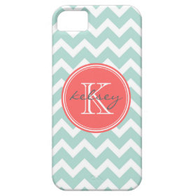 Mint and Coral Chevron Custom Monogram iPhone 5 Cases