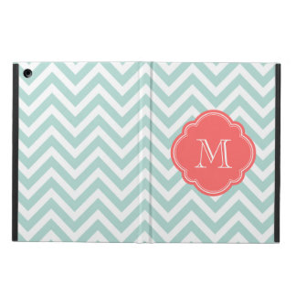 Mint and Coral Chevron Custom Monogram iPad Air Cover