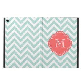 Mint and Coral Chevron Custom Monogram Powis iPad Air 2 Case