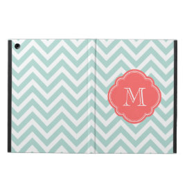 Mint and Coral Chevron Custom Monogram Case For iPad Air