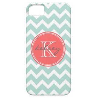 Mint and Coral Chevron Custom Monogram iPhone SE/5/5s Case