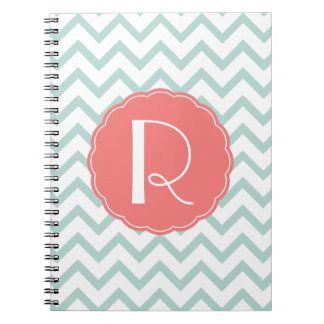 Mint and Coral Chevron Monogram Notebook