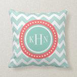 Mint and Coral Chevron Monogram Throw Pillow