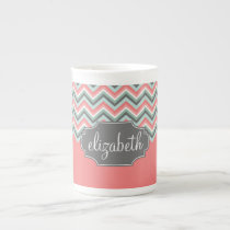 Mint and Coral Chevron Pattern Custom Name Tea Cup