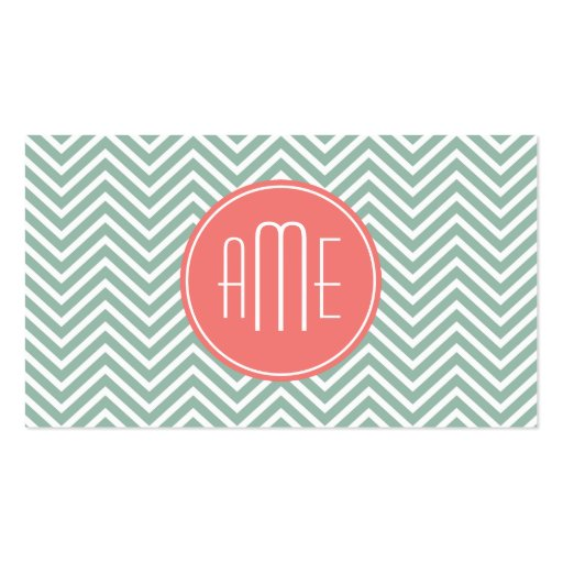 Mint and Coral Chevrons Custom Monogram Business Card