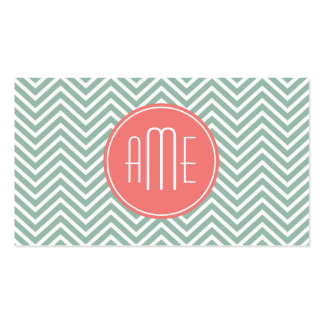 Mint and Coral Chevrons Custom Monogram Double-Sided Standard Business Cards (Pack Of 100)