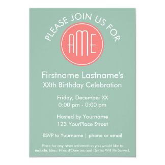 Mint and Coral Chevrons Custom Monogram Custom Invite