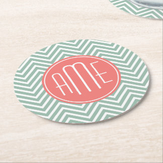 Mint and Coral Chevrons Custom Monogram Round Paper Coaster