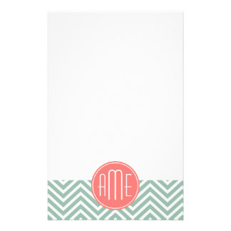 Mint and Coral Chevrons Custom Monogram Stationery