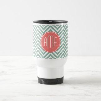 Mint and Coral Chevrons Custom Monogram Travel Mug
