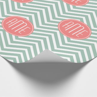 Mint and Coral Chevrons Custom Monogram Wrapping Paper