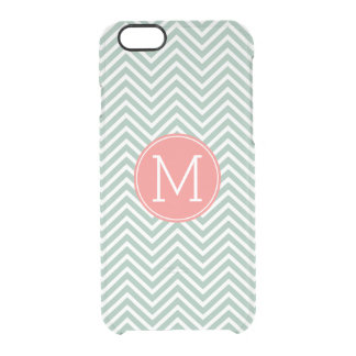Mint and Coral Chevrons with Custom Monogram Clear iPhone 6/6S Case