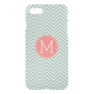 Mint and Coral Chevrons with Custom Monogram iPhone 7 Case
