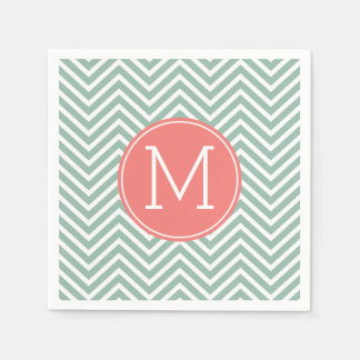 Mint and Coral Chevrons with Custom Monogram Standard Cocktail Napkin