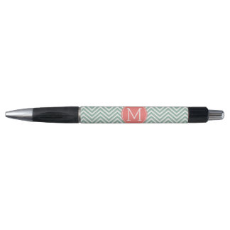 Mint and Coral Chevrons with Custom Monogram Rubber Grip Pen