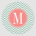 Mint and Coral Chevrons with Custom Monogram Classic Round Sticker