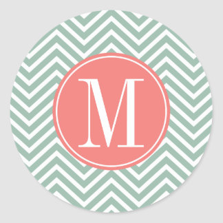 Mint and Coral Chevrons with Custom Monogram Stickers