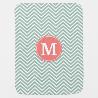 Mint and Coral Chevrons with Custom Monogram Swaddle Blanket
