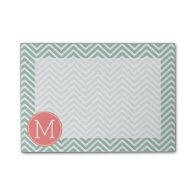 Mint and Coral Chevrons with Custom Monogram Post-it® Notes