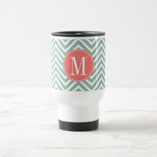 Mint and Coral Chevrons with Custom Monogram Travel Mug