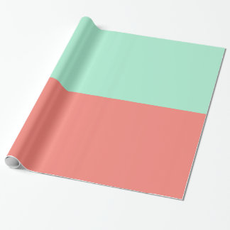 Mint and Coral Color Block Wrapping Paper