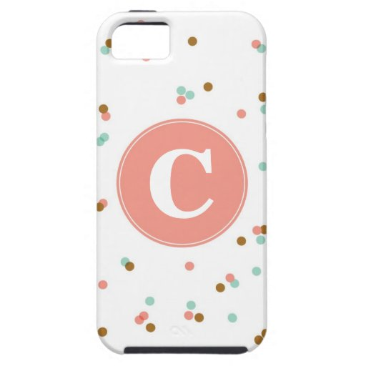 Mint and Coral Confetti iPhone Case