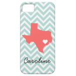 Mint and Coral Cute Texas Love Chevron Monogram iPhone 5 Case