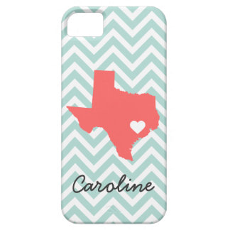 Mint and Coral Cute Texas Love Chevron Monogram iPhone SE/5/5s Case
