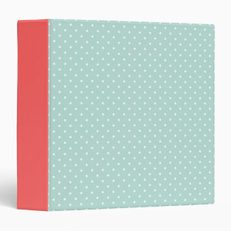 Mint and Coral Cute Tiny Polka Dots Binder