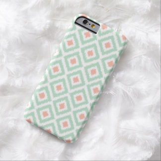 Mint and Coral Diamond Ikat Pattern Barely There iPhone 6 Case