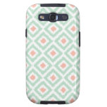 Mint and Coral Diamond Ikat Pattern Samsung Galaxy SIII Cover