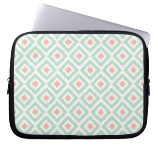 Mint and Coral Diamond Ikat Pattern Computer Sleeve