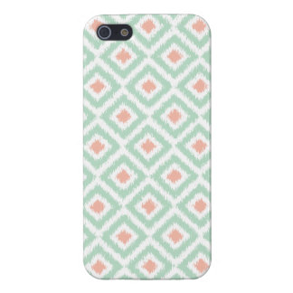 Mint and Coral Diamond Ikat Pattern Cover For iPhone SE/5/5s