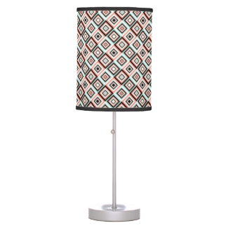 Mint and Coral Diamond Pattern Table Lamp
