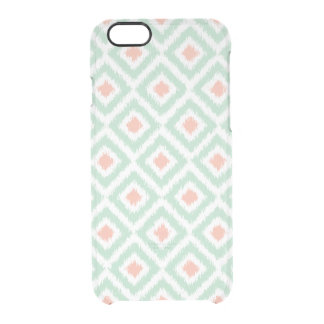 Mint and Coral Diamonds Ikat Pattern Uncommon Clearly™ Deflector iPhone 6 Case