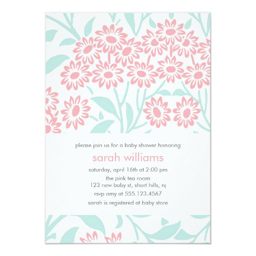 Personalised New Baby Or Birthday Card By Mint Nifty: Mint And Coral Floral Damask Baby Shower Card