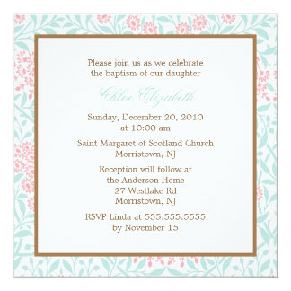 Mint and Coral Floral Damask Christening Card