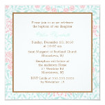"""Mint and Coral Floral Damask Christening 5.25"""" Square Invitation Card"""