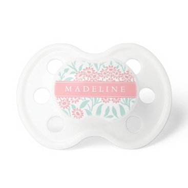 heartlocked Mint and Coral Floral Pattern Pacifier