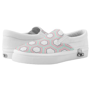 heartlocked Mint and Coral Geometric Honeycomb Pattern Slip-On Sneakers