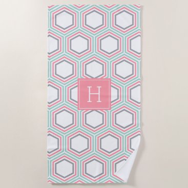 Beach Themed Mint and Coral Geometric Pattern and Monogram Beach Towel