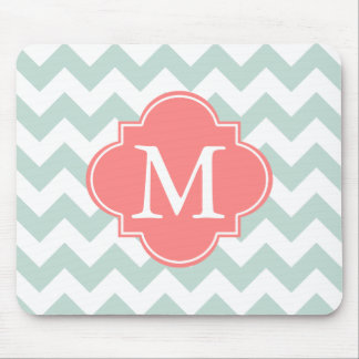 Mint and Coral Modern Chevron Custom Monogram Mouse Pad