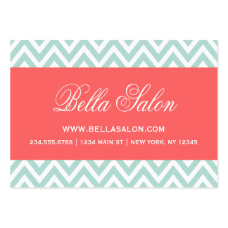 Mint and Coral Modern Chevron Stripes Large Business Card
