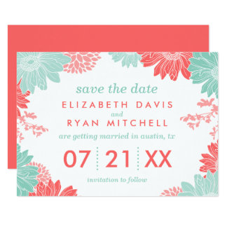 Mint and Coral Modern Floral Save the Date Card