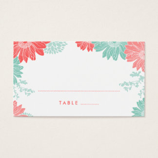 Mint and Coral Modern Floral Wedding Escort Cards